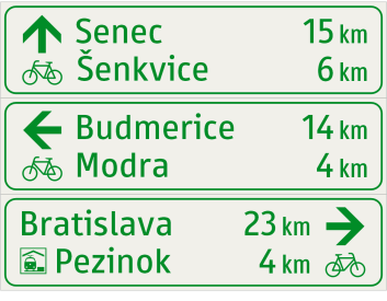 Cyklistický smerník tabuľový