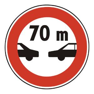 B19: Zákaz jazdy motorových vozidiel vo vzdialenosti kratšej ako je vyznačené