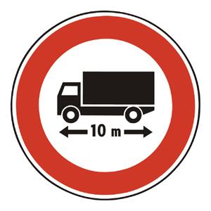 B20: Zákaz vjazdu vozidiel alebo súprav vozidiel, ktorých dĺžka presahuje vyznačenú hranicu