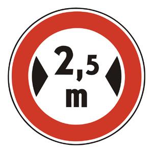 B23: Zákaz vjazdu vozidiel, ktorých šírka presahuje vyznačenú hranicu