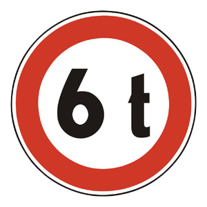 B25: Zákaz vjazdu vozidiel, ktorých okamžitá hmotnosť presahuje vyznačenú hranicu