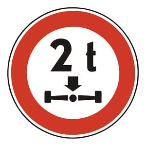 B26: Zákaz vjazdu vozidiel, ktorých okamžitá hmotnosť pripadajúca na nápravu presahuje vyznačenú hranicu