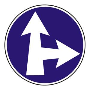 C4b: Prikázaný smer jazdy priamo a vpravo