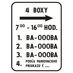 E13: Dodatková tabuľka pre vyhradené parkovanie