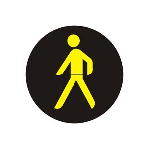 Doplnkový signál s prerušovaným žltým svetlom v tvare chodca