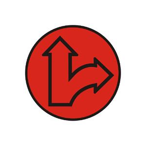 """""""Kombinovaný signál s červeným svetlom pre dva smery so znamením """"""""Stoj!"""""""""""""""