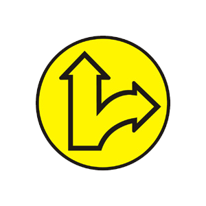 """""""Kombinovaný signál so žltým svetlom pre dva smery so znamením """"""""Pozor!"""""""""""""""