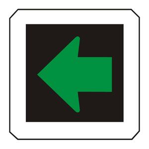 Signál so zeleným svetlom v tvare šípky pre opustenie križovatky