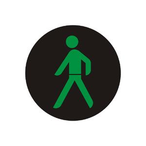"""""""Signál pre chodcov so zeleným svetlom so znamením """"""""Voľno!"""""""""""""""