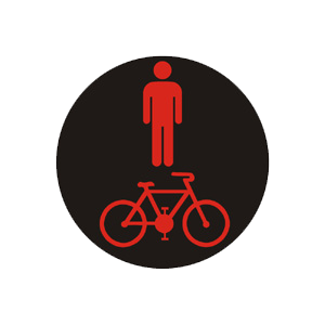 """""""Kombinovaný signál pre chodcov a cyklistov s červeným svetlom so znamením """"""""Stoj!"""""""""""""""