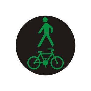 """""""Kombinovaný signál pre chodcov a cyklistov so zeleným svetlom so znamením """"""""Voľno!"""""""""""""""