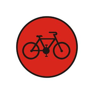 """""""Signál pre cyklistov s červeným svetlom so znamením """"""""Stoj!"""""""""""""""