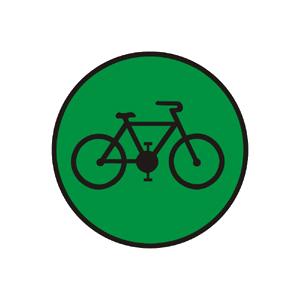 """""""Signál pre cyklistov so zeleným svetlom so znamením """"""""Voľno"""""""""""""""